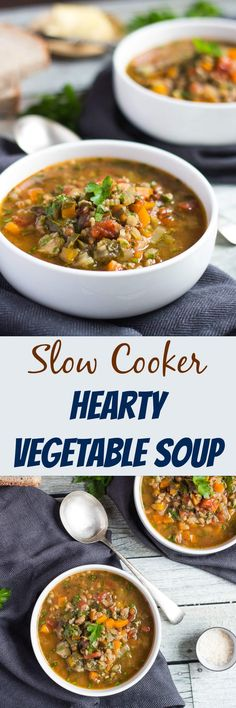 Ever wonder what soup mix was? Or how to use it? Throw soup mix into the slow cooker with a few chopped vegetables and some vegetable stock. Eight hours later you will have this delicious thick and hearty slow cooker vegetable soup. #slowcooker #vegetable #soup #thecookspyjamas #vegetarian #healthy #easy #vegan via @cookspyjamas