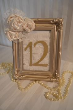 Ruffle Gold Frame Lace Satin Ivory Pearl Wedding Table Number