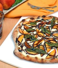 Ricotta Pizza with Peaches-Exploding with the taste of summer, Ricotta Pizza with Peaches is a slice of bliss. Creamy ricotta and fresh peaches pair perfectly with basil and balsamic.