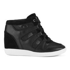 MICHAEL MICHAEL KORS Women's Astrid High Top Trainers - Black (185 SGD) ❤ liked on Polyvore featuring shoes, sneakers, black, studded lace-up wedge sneakers, black high top sneakers, flat shoes, wedge sneakers and wedge shoes