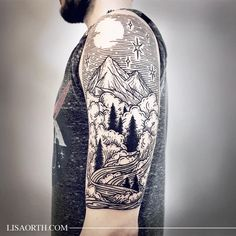 lisaorth Piece commemorating his time spent in Colorado for Adam, thanks for traveling to get tattooed. Artwork and photo © 2016 Lisa Orth. Do Not Duplicate.