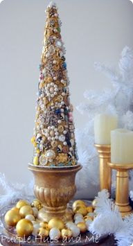 DIY:: Jeweled Christmas Tree - Upcycle jewelry using a painted Styrofoam cone, hot glue, and old jewelry.need to place my tree on a candle holder like this. Jeweled Christmas Trees, Little Christmas Trees, Merry Christmas, Xmas Tree, All Things Christmas, Vintage Christmas, Christmas Holidays, Christmas Decorations, Christmas Ornaments