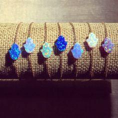 Mini Lab Opal pulsera Hamsa Plata esterlina oro lleno o rosa