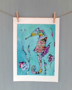Seahorse Art Print of Original Painting Colorful by coocoovaya Seahorse Painting, Seahorse Art, Art Original, Original Paintings, Quirky Art, Colorful Animals, Sea Art, Summer Is Here, Cow Print