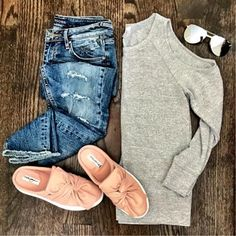 IG @mrscasual <click through to shop this look> cold shoulder sweatshirt gray, bow slip on mule sneakers. casual weekend outfit idea