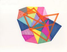 """Geo forms 1 , 2013 9""""x12"""" marker, ink, tape and collage on paper . Jaime Derringer."""
