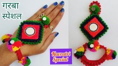 Best out of Waste 2018 How to make Hand Bracelets at Home How to make Navratri special Garba jewellery Pom Pom Jewellery for Navratri Best Idea Happy Navratr. Diy Fabric Jewellery, Thread Jewellery, Textile Jewelry, Crochet Jewellery, Gold Jewellery, Navratri Dress, Woolen Craft, Navratri Special, Hand Bracelet