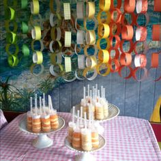 I like the paper streamers.  This is a great cupcake blog.