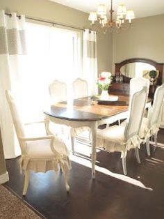 Little Miss Penny Wenny: How to Transform a Dining Room Set; step by step and she stripped the top, stained it and painted rest with ASCP.
