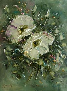 JOANNA DOMAGALSKA62 Oil Painting Flowers, Abstract Flowers, Texture Art, Texture Painting, Flower Canvas, Flower Art, Paintings I Love, Painting Inspiration, Les Oeuvres