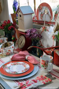 Love Around The Potting Shed with floral dishes, birdhouses, and vintage garden | homeiswheretheboatis.net #Valentines #table