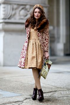 Très Chic! The Best Street Style at Paris Fashion Week: A decidedly opulent look with a fur collar, turban, and brocade layers. Coat, dress and turban by Gabriela Atanasov La poupee collection, Sophie Handbag, Musette by Christlen B.  Heels