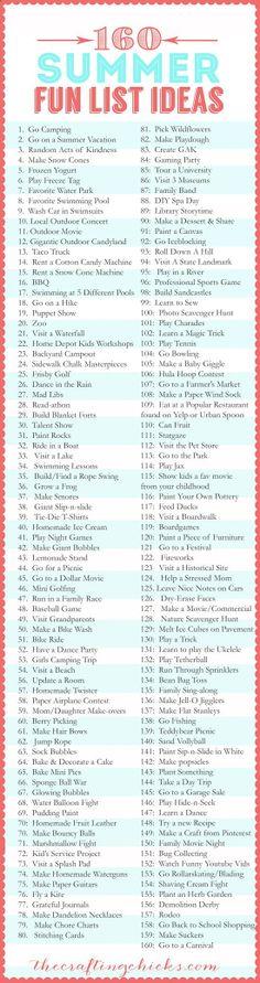 160 Summer Fun List IDEAS