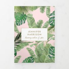 Watercolor Tropical Leaves Pink Salon Brochure Modern Business Cards, Professional Business Cards, Pink Salon, Salon Price List, Letter Folding, Honeymoon Gifts, Tropical Leaves, How To Introduce Yourself, Salons