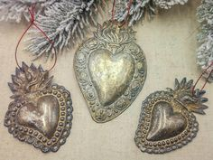 Antique Italian ex voto Sacred Hearts, antique milagros, Italian religious ex voto flaming hearts, tarnished by aging, early 1900s by villavillacolle on Etsy