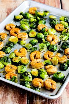 Save this healthy keto recipe to make Low-Carb Roasted Asian Shrimp and Brussels Sprouts Sheet Pan Meal for dinner.