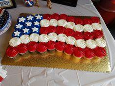 RW&B cupcake flag Military Send Off Party Ideas, Military Retirement Parties, Military Party, 4. Juli Party, 4th Of July Party, Fourth Of July, Deployment Party, Goodbye Party, Welcome Home Parties