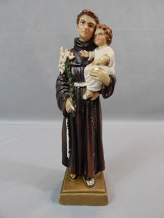 Beautiful Vintage Figurine of St. Anthony of Padua and Infant Jesus - Chalkware, Made in Italy by SlyfieldandSime on Etsy