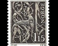 "Norwegian stamp featuring detail from the stavkirke in Urnes, Norway (built ca. 1050 AD). It is generally agreed to be the oldest remaining stave church and was declared a ""World Cultural Heritage"" site in 1979 by the United Nations: ""The church brings together traces of Celtic art, Viking traditions and Romanesque spatial structures."""