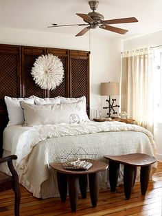 Different wood tones combine in this bedroom for a vintage-chic look. More neutral bedrooms here: http://www.bhg.com/rooms/bedroom/color-scheme/neutral-colored-bedrooms/?socsrc=bhgpin062514variationsonatheme&page=8