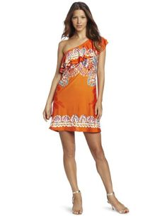 Wrapper Women's One Shoulder Ity Border Placement Print Dress