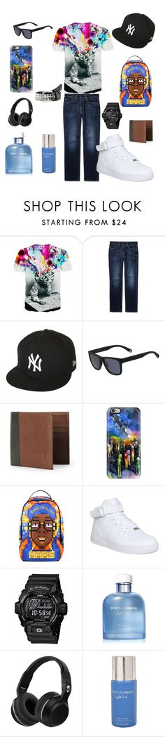 """May Menswear"" by ashes611 ❤ liked on Polyvore featuring Levi's, New Era, Lacoste, Polo Ralph Lauren, Casetify, Sprayground, NIKE, G-Shock, Dolce&Gabbana and Skullcandy"