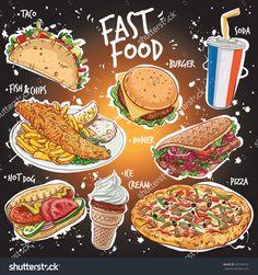 手绘矢量插图流行的快餐品种包括墨西哥、鱼和薯条,汉堡,平面包烤羊肉串,最高比萨,冰淇淋和一杯苏打水喝|#illustration