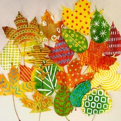 inspired by alisaburke. P.S. This picture is awesome because it almost doesn't look real. But these are real leaves, painted with acrylic paints and they were just sitting on a table and I took a picture, not a scan, not digitally illustrated, nothin' fall leaf garland at inspiration junkie