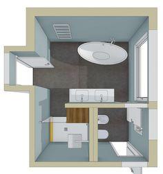 Badplanung Badezimmer mit freistehender Badewanne und separatem Dusch- und WC-Raum