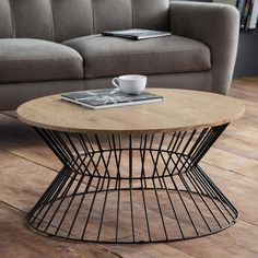 Jersey wooden coffee table in natural oak with round wire base - 47463 wooden coffee tables with storage & drawers, modern & contemporary. In rectangular, round,. Wire Coffee Table, Round Wooden Coffee Table, Round Table Top, Coffee Table With Storage, Oak Furniture House, Metal Furniture, Compact Dining Table, Center Table, Seat Pads
