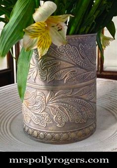 Click here to DIY Wallpaper Vase. Wallpaper boarder from Lowes & finishing technique. EASY instructions with photos on blog. Use in decor, parties, weddings, table top. From MrsPollyRogers.com