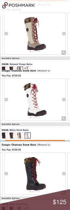 Cougar Canada tall snow boots winter fur These are from QVC wholesale. I have several pair. They retail for $160!!!!! No box with these, brand new selling in my boutique in KY. white- sizes: 9 & 8 (two pair) , oatmeal- size 9, black- size: 8. cougar canada Shoes Winter & Rain Boots