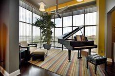 i like the layout of this piano room Baby Grand Pianos, Glass Room, Piano Room, Piano Teaching, Old And New, Tuscany, Decor Ideas, Layout, Interiors