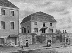 Philadelphia Friends, Bank Meetinghouse, built 1685 on the banks of the Delaware (no longer standing).