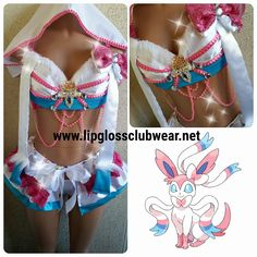 Pokemon Sylveon Inspired Costume Rave Wear Anime by LipglossWear