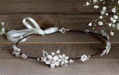 Boho floral bridal headpiece wedding forehead от JoannaReedBridal