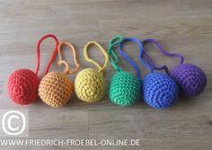 Spielgabe 1: Baby Ball, 6 Stück in den Farben des Regenbogens
