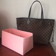 LOUIS VUITTON Neverfull MM Damier Ebene Rose Ballerine Without Pouch $1100.0