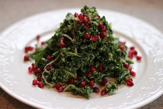 Kale & Pomegranate Christmas Tree. Kale, avocado, red onion, pomegranate, lemon, olive oil  salt and pepper