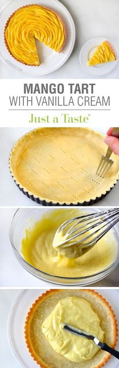 Mango Tart with Vanilla Bean Pastry Cream Recipe Mango Recipes, Tart Recipes, Cream Recipes, Sweet Recipes, Cooking Recipes, Mango Dessert Recipes, Pastry Recipes, Cupcake Recipes, Sweet Pie
