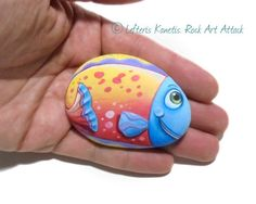 Hand Painted Pebble Happy Colorful fish Fridge by RockArtAttack