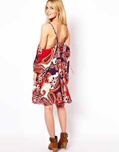 ASOS Smock Dress In Paisley With Lace Up Back Detail