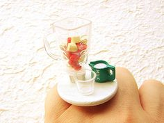 Strawberry Food Ring Food Jewelry Making a Smoothie