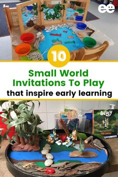Setting up small world invitations to play can be a simple way to invite children to play in a creative and open-ended way. This post features a collection of simple invitation to play setup ideas from the Empowered Educator community. Many of these invitation to play ideas for toddlers and preschoolers don't require fancy materials. These play based learning ideas will inspire early childhood educators and parents alike. - The Emdpowered Educator Pre K Activities, Sensory Activities, Play Based Learning, Early Learning, The Very Cranky Bear, Early Years Teacher, Family Day Care, Invite, Invitations