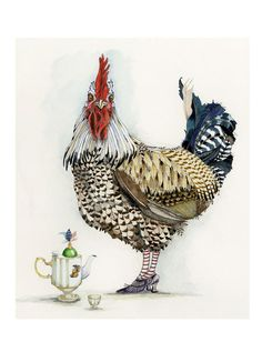 Print Giclee print Chicken with Teapot 8x11 by ChasingtheCrayon on Etsy https://www.etsy.com/listing/129854174/print-giclee-print-chicken-with-teapot