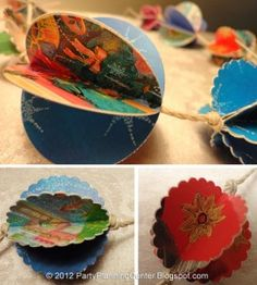 recycled Christmas card ornaments