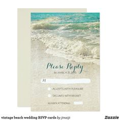 vintage beach wedding RSVP cards