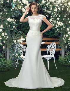 Cheap dresses fabric, Buy Quality dress up wedding dresses directly from China dresses girl Suppliers:           Dressv Charming Scoop Lace Wedding Dresses 2016 ivory lace appliques mermaid wedding dress trumpet chiffon out