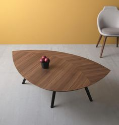 Contemporary leaf shaped coffee table in walnut canaletto or burnt oak finish