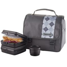 Tupperware Men's Lunch Bag Set: Sporty and classic design. A reliable companion on the course, classroom or office.Includes two Sandwich Keepers, one Snack Cup and insulated lunch bag.